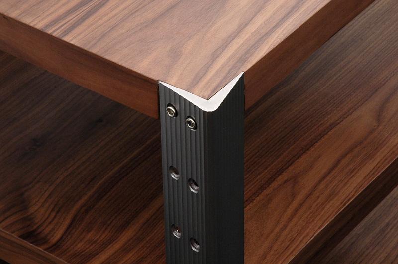 hifi rack aus alu und nussbaum extrem belastbar hifi zubehoer 24. Black Bedroom Furniture Sets. Home Design Ideas